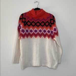 Aerie turtle neck sweater pink purple geometric S